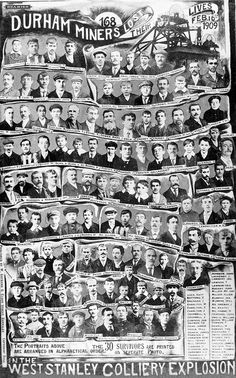 A second postcard commemorating the 1909 West Stanley explosion shows pictures of all 168 people killed, Iconic Photos, Old Photos, Easington Colliery, Northumberland Coast, Durham City, St Johns College, North East England, History Books, Family History
