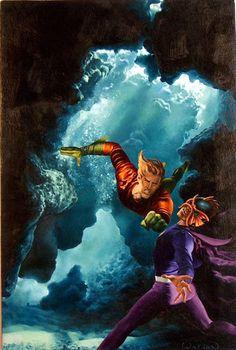 Aquaman vs The Ocean Master by John Watson Comic Book Characters, Comic Books Art, Comic Art, Book Art, Heroes For Hire, Dc Heroes, Show Me A Hero, King Shark