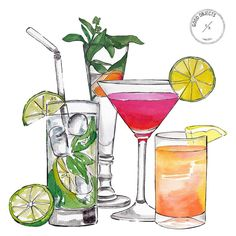 Template for cocktail drinks. Brochure with hand-drawn elements . Template for cocktail drinks. Brochure with hand-drawn elements. Vector illustration, # spoon, ~ Doğukan ÖZEV ~ on Craft Cocktails, Cocktails Clipart, Cocktail Illustration, Cute Illustration, Cocktails Drawing, Cocktail Fruit, Watercolor Food, Clip Art, Food Drawing
