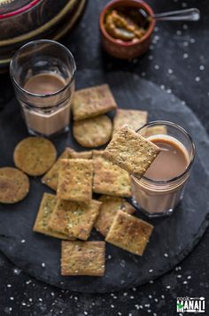 Baked Methi Mathri (Savory Crackers) flavored with dried fenugreek leaves and a bunch of other spices! This healthier version of the traditional mathri is easy to make and best enjoyed with chai! Dry Snacks, No Bake Snacks, Savory Snacks, Snack Recipes, Veg Recipes, Healthy Snacks, Healthy Eating, Cooking Recipes, Indian Snacks