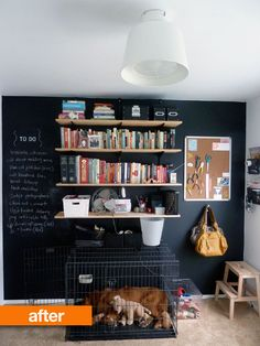 I love the chalkboard walls of course, but using a bulletin board for things other than paper is a great idea I always forget about