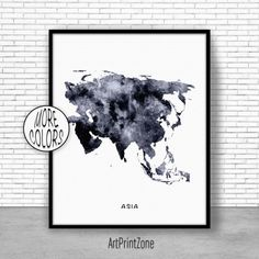 Asia Map, Asia Print, Asia Continent, Map of Asia, Map Wall Art Print, Travel Map, Travel Decor, Office Decor, Office Wall Art #TravelDecor #OfficeWallArt #OfficeDecor #TravelMap #MapWallArtPrint