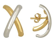 """14k White And Yellow Gold Polished """"x"""" Design Earrings  Hollow Center     Made In Italy #MIGM"""