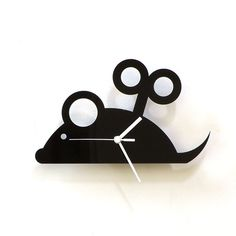 Wind up toy mouse  black acrylic wall clock a piece by ClockIdeas