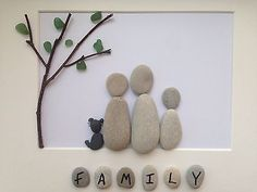 Handmade, Bespoke Pebble Art - Personalised Family Picture
