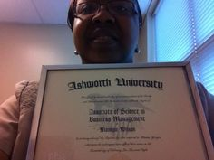 Monique posing with her Associate Degree in Business Management.  Thanks for letting us share in your achievement, Monique!  http://www.ashworthcollege.edu/associate-degrees/general-business