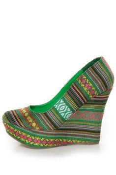 Mona Mia Inspiracion Green Multi Fabric Platform Wedges - $49.00