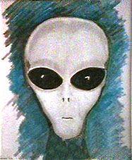 drawing of alien by John Velez