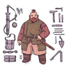 Fantasy Character Design, Character Design Inspiration, Character Concept, Character Art, Fantasy Dwarf, Fantasy Rpg, Medieval Fantasy, Dungeons And Dragons Characters, D D Characters