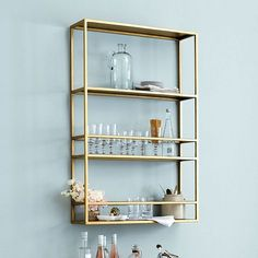 6 ideas for choosing or relooking your kitchen credenza - My Romodel Shelves Above Toilet, Glass Wall Shelves, Gold Shelves, Glass Shelves Kitchen, Display Shelves, Floating Shelves, Brass Shelving, Bar Shelves, Kitchen Cabinets