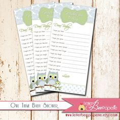 Owl Theme Baby Shower - Wishes for Baby Cards - DIY Printable Party - Boy, Girl, Gender Neutral - Baby Sprinkle, Baby Wishes, Shower Games
