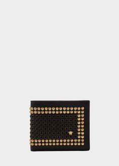 0640f4e6d7 Versace Studded leather billfold wallet for Men | Official Website Billfold  Wallet, Leather Wallets,