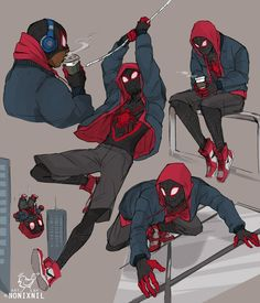 Ultimate Spider-Man Into The Spider-Verse Spider Art, Spider Verse, Marvel Fan Art, Marvel Heroes, Comic Books Art, Comic Art, Miles Morales Spiderman, Amazing Spider, Cartoon Art