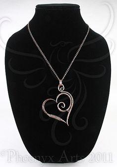 Hammered Copper Heart Pendant & Chain (on ArtFire)