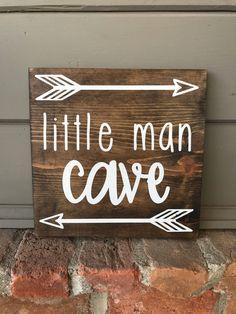 Little Man Cave Sign | Nursery Wood Sign | Boys Nursery Decor | Wooden Sign | Woodland Nursery Sign | Arrow Sign | Boys Nursery Sign by FallingInRustic on Etsy https://www.etsy.com/listing/566999244/little-man-cave-sign-nursery-wood-sign