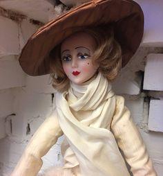 "25"" Rare Vintage Zanini & Zambelli Italian Rouvelle Vogue 1920 Inspired French Boudoir Doll"