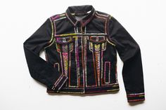 """One of a kind hand embroidered black Levi's jacket<p class="""""""" ... Black Levis, Hand Embroidery, Motorcycle Jacket, Jackets For Women, Denim, Fabric, Clothes, Fashion, Cardigan Sweaters For Women"""