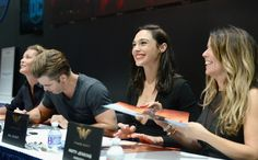 Comic-Con 2016: Celebs at the Biggest Day 3 Panels | Connie Nielsen, Chris Pine, Gal Gadot, and Patty Jenkins at DC's 2016 San Diego Comic-Con Booth | EW.com