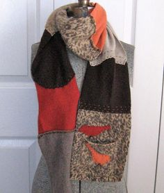 Recycled Cashmere Sweater Patchwork Scarf  WILD by heartfeltbaby, $39.00