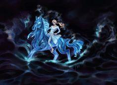 Elsa riding on Nokk the Water Spirit horse from Frozen 2 Elsa Frozen, Disney Frozen, Frozen Heart, Horse Clip Art, Horse Water, Horse Clipping, Zelda Tattoo, Water Art, Ice Princess