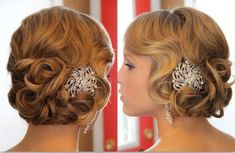 Perfect vintage wedding hair. I LOVE the illusion that she has wavy bangs. So perf