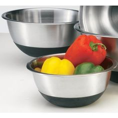 Some kind of metal or plastic bowls to prepare food