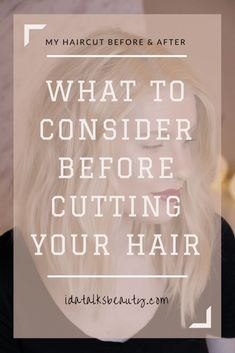 What to consider before cutting your hair. I also show you the before and after pictures of my own quite drastic haircut. There is also tips on how I style my long bob, to get messy textured waves. Trendy Mens Haircuts, Haircuts Straight Hair, Girl Haircuts, New Haircuts, Long Thin Hair, Long Hair With Bangs, Long Layered Hair, Trending Hairstyles, Bob Hairstyles