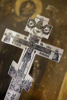 This is an antique blessing cross. It belongs to a Greek Orthodox cathedral in New Orleans, LA.  The cathedral is the oldest Greek Orthodox church in the USA. The cross was given to them as a gift from a Russian Grand Duke back in the late 1800s and was instrumental in the starting up of one of the Mardi Gras krewes. Funny because I usually associated Mardi Gras with Roman Catholicism.