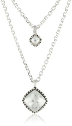 "AmazonSmile: NINE WEST VINTAGE AMERICA ""Metal Geo Jewels"" Silver Colored Ox Textured Double Necklace, 18"": Jewelry"