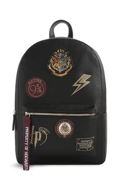 24baa861d75b19 Details about Harry Potter Leather Backpack Medium Black Hogwarts or Large  Hogwarts Navy Bag