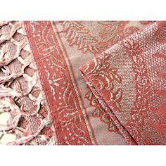 Grand plaid boheme fil de soie rose 2 tons avec franges - Vintage ancien 40/50's