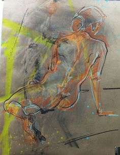 Expressive Life Drawing-Female Back-Nude-Colorful abstract quality by SarahsArtScene.