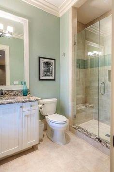 Contemporary 3/4 Bathroom with Flat panel cabinets, Flush, frameless showerdoor, Undermount sink, limestone tile floors