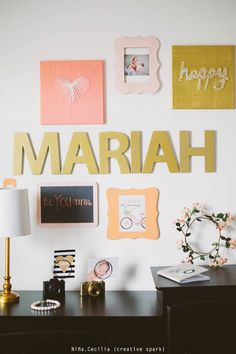 Peach, Coral, Pink and Gold Gallery Wall