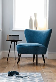 Beautifully restored, this blue mid century armchair is a beautiful addition to a living room or bedroom space.   Browse and buy mid century furniture and preloved #design at Layer.