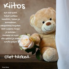 Finnish Words, Cute Love Quotes, Friendship, Place Card Holders, Teddy Bear, Yuu, Instagram, Qoutes Of Life, Powerful Quotes