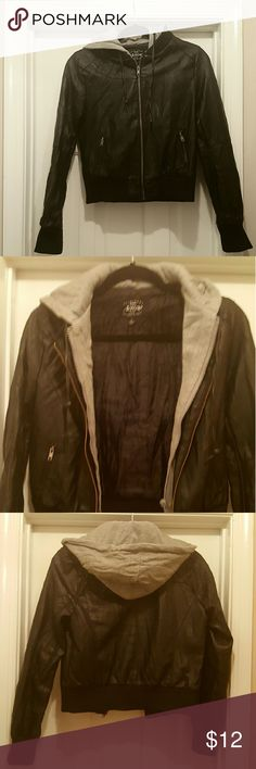 Double Layered Faux Leather and Hoodie Jacket Junior's double layered jacket.  Faux black leather outside with an attached gray fleece hoodie on the inside (attached). Two front pockets that zipper. Brand name is Active.Super cute jacket in excellent used condition from smoke-free home. Active Jackets & Coats