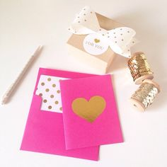Gold heart note cards from @chicfetti