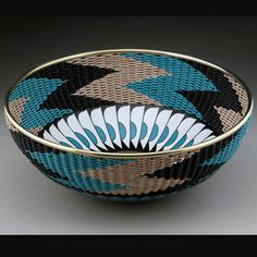 Terry Jones | Turned wood, usually two or more pieces which are joined with curved metal rods and woven with leather cord, and intricate original designs by dye, paint, inlay, and cut and join techniques.