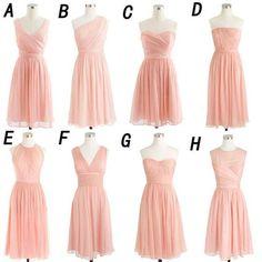 Blush Pink Chiffon Summer Wedding Bridesmaid DressesSimple Short Cheap Gownsapd1700