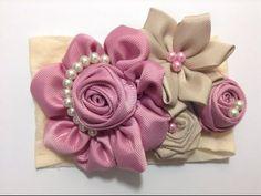 Flores Elegantes Doble color para centro de lazos, Flores fáciles listón, #530 - YouTube