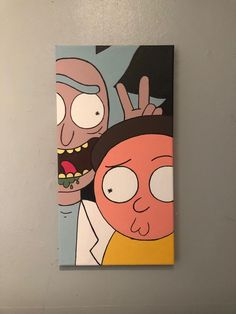 - Art - Rick und Morty Duo Leinwand Curtain and drape headings- Top Tips There are many types of cur Simple Canvas Paintings, Easy Canvas Art, Small Canvas Art, Mini Canvas Art, Acrylic Painting Canvas, Canvas Canvas, Hippie Painting, Trippy Painting, Cartoon Painting