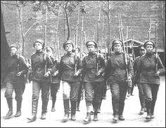 """Russian Women's Death Battalion, World War I.  Attempted to defend the Winter Palace against the Bolshevics.  According to a journalist at the time, """"Some of the girl soldiers had been thrown from the windows...most of the rest had been violated, and many had committed suicide as a result of the horrors they had gone through.""""  The claims were disputed.  Some were captured during the attack of the palace.  The leader fled the United States upon her release."""