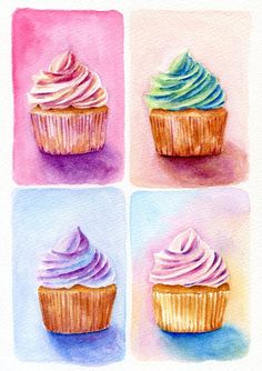 ORIGINAL Painting  Four Cupcakes Dessert by ForestSpiritArt, £30.00
