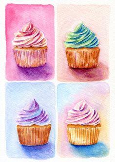 ORIGINAL Painting  Four Cupcakes Dessert by ForestSpiritArt, £30.00