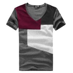 Allegra K men color block v neck.