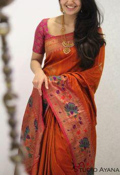 Product Details: Saree: Banaras tussar silk Blouse: Tussar silk with zari patterns (as shown in last image) Wedding Saree Blouse Designs, Pattu Saree Blouse Designs, Half Saree Designs, Blouse Designs Silk, Trendy Sarees, Stylish Sarees, Fancy Sarees, Saree Trends, Saree Models