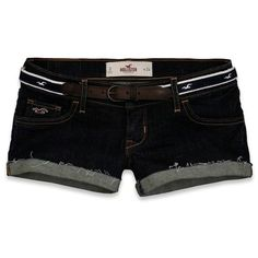 Hollister Avalon Shorts ($22) ❤ liked on Polyvore featuring shorts, dark wash, short shorts, preppy shorts, cuffed shorts, embroidered shorts and preppy embroidered shorts