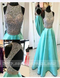 2016 prom dress,Beaded prom dress,Backless prom dress,Long prom dress,Elegant A-line Sleeveless Floor-Length Blue Satin Prom Dress