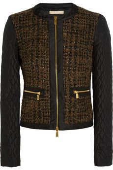 Michael Kors Collection Metallic bouclé-tweed and quilted shell jacket | THE OUTNET